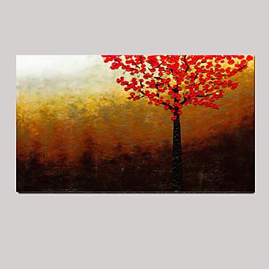 Hand bemalt rote Baum abstrakte Landschaft modernen Messer Ölgemälde auf einer Leinwandplatte fertig zum Aufhängen