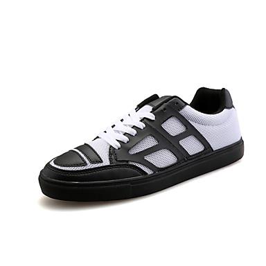 Sportos-Férfi cipő-Divatos teniszcipők-Tüll-Fekete / Fehér / Fekete és fehér