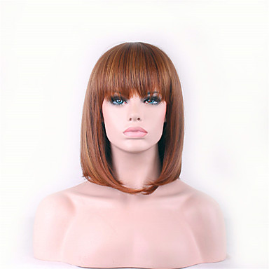Pelucas sintéticas Recto / Liso Natural Corte asimétrico Pelo sintético Entradas Naturales Marrón Peluca Mujer Corta Sin Tapa