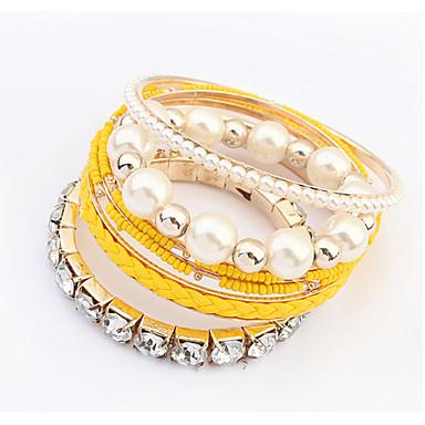 Damen Armreife Modisch Mehrlagig Europäisch Perle Künstliche Perle Strass Imitation Diamant Aleación Gelb Rose Blau Rosa Regenbogen