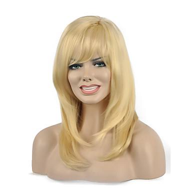 parti perruques synthétiques de haute qualité droite blond couleur femme