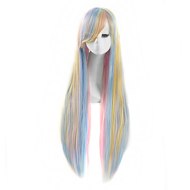 Damen Synthetische Perücken Kappenlos Lang Glatt Blau Kostüm Perücken
