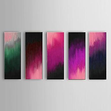 שמן מסעדת ציור מופשטת סגול מצויר ביד 5 פיסה / תפאורת אמנות קיר משובצת מסגרת נמתחה