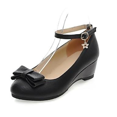 Kényelmes / Kerek orrú-Parafa-Női cipő-Magassarkú-Esküvői / Irodai / Ruha-Bőrutánzat-Fekete / Sárga / Fehér