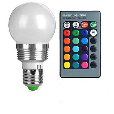 3W E26/E27 Ampoules Globe LED A50 1 LED Haute Puissance 100-200 lm RVB Commandée à Distance AC 85-265 V 1 pièce