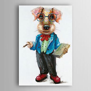 kézzel festett olajfestmény állat egy kutya egy könyvet feszített keret 7 fal arts®