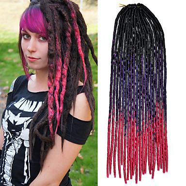 Kanekalon 20inch צם סנגל אימה רכה לנעול שיער קולע סינטטי ורודה סגול שחור Ombre