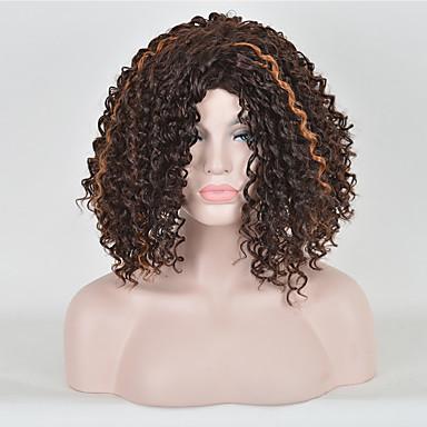 Cheveux Synthétiques Perruques Bouclé Sans bonnet Court Marron
