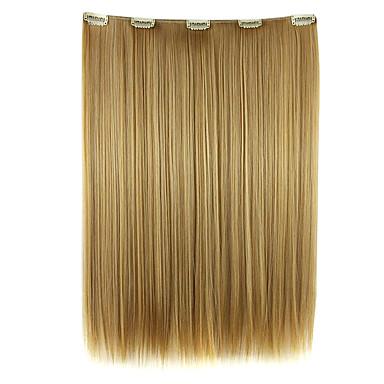 dunkelgoldene 52cm hohe Temperaturdrahtlänge glattes Haar synthetische Haarverlängerung Perücke