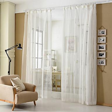 Két panel Modern Csík Fehér Nappali szoba Poli / pamut keverék Sheer Függöny Shades