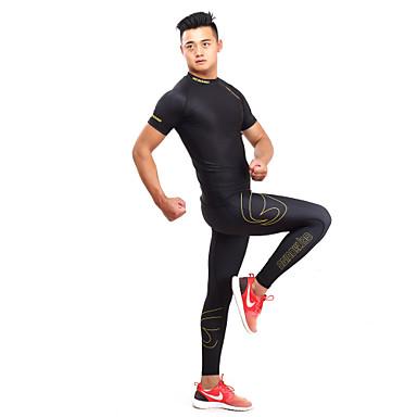 GETMOVING Herre / Dame T-skjorte og joggebukse - Svart / Gul sport Spandex Joggedress / Innerlag / Kompressjonsklær Yoga & Danse Sko,