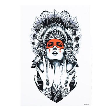 8pcs temporäre Tätowierung Aufkleber Papier indische Schönheit Mädchen Pfauenfeder Bild Body Art Tattoo für Frauen Männer
