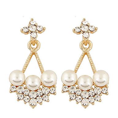 Damen Tropfen-Ohrringe Party Büro Freizeit Modisch Künstliche Perle Strass Diamantimitate Aleación Blume Schmuck Party Alltag Normal