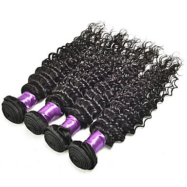 שיער אנושי שיער ברזיאלי טווה שיער אדם גל עמוק תוספות שיער 4 חלקים שחור