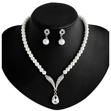 בגדי ריקוד נשים פנינה ארוך סט תכשיטים - דמוי פנינה, אבן נוצצת, מצופה כסף לִכלוֹל שרשרת / עגילים לבן עבור חתונה / Party / יומי / שרשראות