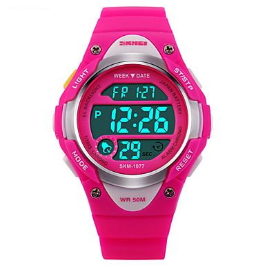 SKMEI Relógio Esportivo / Relogio digital Alarme / Calendário / Cronógrafo Borracha Banda Fashion Preta / Azul / Rosa / Impermeável / Luminoso / LCD / Cronômetro / Dois anos