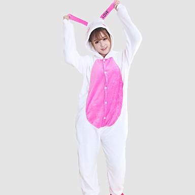 Kigurumi-Pyjamas Hase Kaninchen Pyjamas-Einteiler Kostüm Korallenfleece Cosplay Für Erwachsene Tiernachtwäsche Karikatur Halloween Fest /