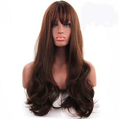 שיער סינטטי פאות גלי ללא מכסה ארוך חום