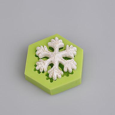 fonddant kake dekorere verktøy 3d snøfnugg jul silikon mold farge tilfeldig