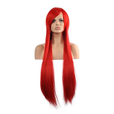 נשים פאות סינתטיות ללא מכסה ארוך ישר אדום פאות תלבושות