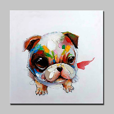 nagy, kézzel festett modern absztrakt kutya olajfestmény vászon fal art kép ház dekoráció keret
