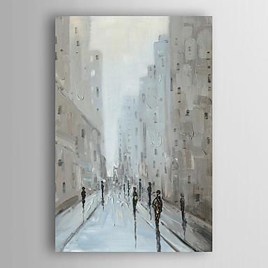 אנשי נוף ציור שמן שצויר ביד הליכה ברחוב עיר עם arts® מסגרת 7 קיר נמתח