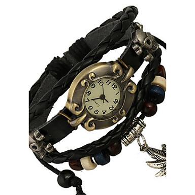 Damen digital Armband-Uhr Modeuhr Leder Band Böhmische Schwarz