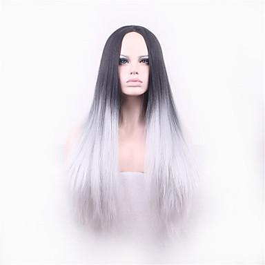 Synthetische Perücken Glatt / Yaki Ombre Synthetische Haare Ombre Perücke Damen Kappenlos