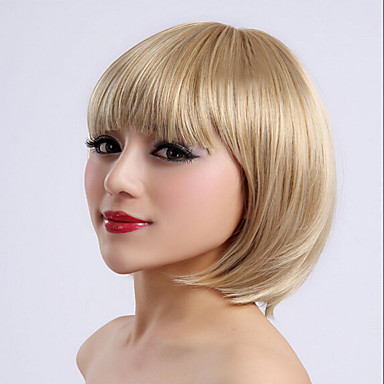Fuel blond farge kort lengde høy kvalitet naturlig rett syntetisk parykk