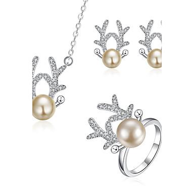 Künstliche Perle Tierform Hirsch Silber Halsketten Ohrringe Ringe Für Hochzeit Party Alltag Normal 3 Stück Hochzeitsgeschenke