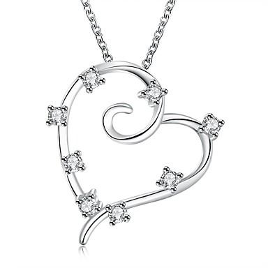 Damen Halsketten Anhängerketten Statement Ketten Sterling Silber Zirkon Kubikzirkonia Herzform Herz Modisch Weiß SchmuckHochzeit Party