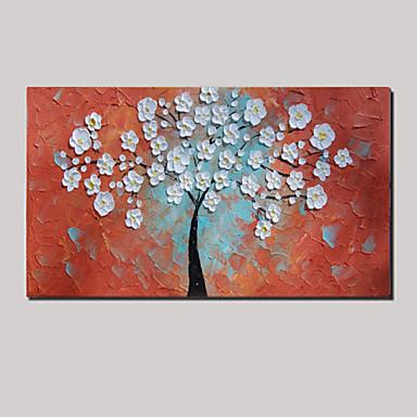 handpainted gemalt dickes Öl weiß Lebensbaum Blumen Malerei mit gerahmten gestreckt