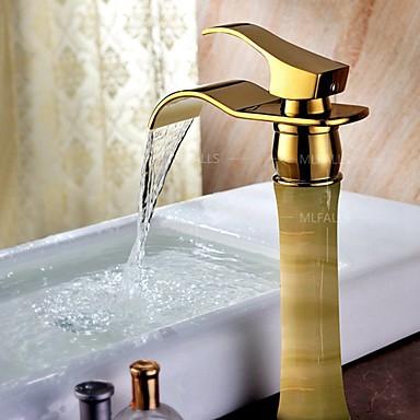 Art Deco/Retro Centersat Foss / Wide spary with  Keramisk Ventil Enkelt Håndtak Et Hull for  Ti-PVD , Bathroom sink tappekran