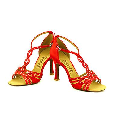 Dame Sko til latindans / Salsasko Satin / Silke Sandaler / Hæle Spænde / Rosette Personligt tilpassede hæle Kan tilpasses Dansesko Bronze / Mandel / Hudfarve / Ydeevne / Læder / Professionel