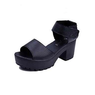 kvinners sko lær plattform villvin sandaler tilfeldig svart / hvit