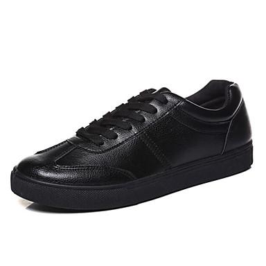 Herre-PU-Flat hælFlate sko-Sport-Svart Hvit