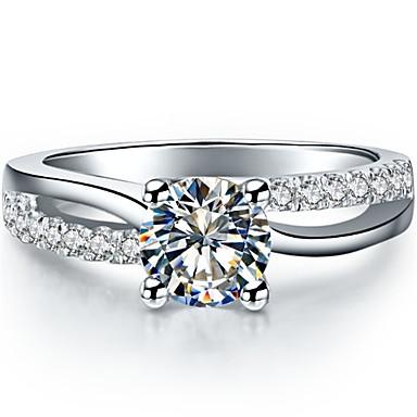 Feminino Anéis Grossos Fashion Prata de Lei Pedaço de Platina Jóias Casamento
