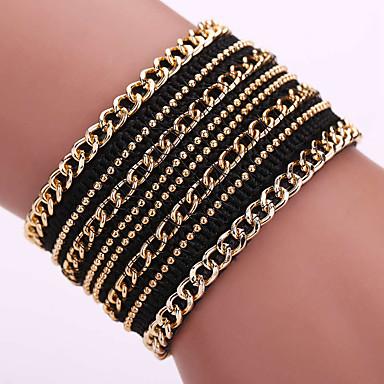 Femme Bracelets Bracelets en cuir Cuir Imitation de diamant Alliage Mode Bohême Adorable Forme Géométrique Noir Beige Bijoux 1pc