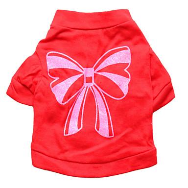 Gatos / Cães Camiseta Vermelho Roupas para Cães Verão Laço Da Moda