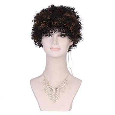 Cabelo Sintético perucas Encaracolado Peruca Afro Americanas Sem Touca preto peruca Curto Preta