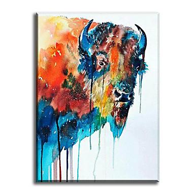 Håndmalte Dyr Lodrett,Klassisk Moderne Tradisjonell Realisme Middelhavet Parfymert Europeisk Stil Lerret Hang malte oljemaleri Hjem Dekor