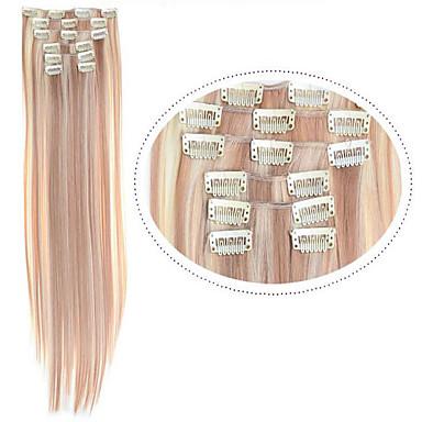in Hair Extentions Clip heiße Verkaufsclip in Kunsthaar # 18/613 Mischfarbe 7pcs / set 22inch billig glattes Haar
