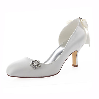 Damen Schuhe Stretch - Satin Frühling Sommer High Heels Stöckelabsatz Kristall Band-Bindung für Hochzeit Kleid Party & Festivität