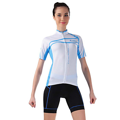 Fahrradtriktot mit Fahrradhosen Damen Kurze Ärmel Fahhrad Atmungsaktiv SchweißableitendTrikot + Shorts/Radtrikot+Kurze Radhose Oberteile