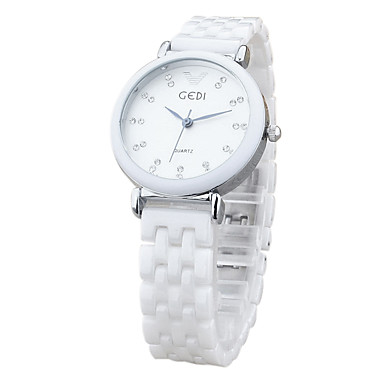 Damen Armbanduhr Quartz Armbanduhren für den Alltag Keramik Band Analog Charme Modisch Weiß - Gold Weiß