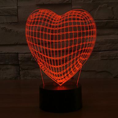 3D conduziu a lâmpada forma do coração amor romântico colorido feriado luz noite mudam de cor luz da noite