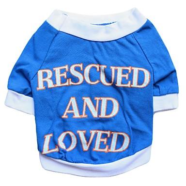 Gatos / Cães Camiseta Azul Roupas para Cães Verão / Primavera/Outono Carta e Número Da Moda