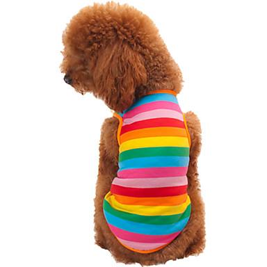 Katze Hund T-shirt Hundekleidung Streifen Regenbogen Baumwolle Kostüm Für Haustiere Herrn Damen Modisch