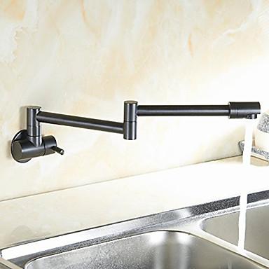 Moderne Modern Pot Filler Mittellage Vorspülung drehbar Keramisches Ventil Einhand Ein Loch Öl-riebe Bronze, Armatur für die Küche