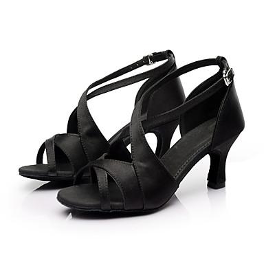 Damen Schuhe für den lateinamerikanischen Tanz / Salsa Tanzschuhe / Ballsaal Satin Sandalen Schnalle Maßgefertigter Absatz Maßfertigung